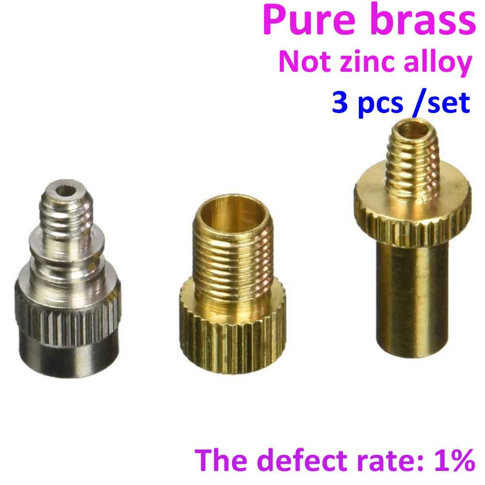 Brass bike bicycle Sclaverand Schrader valve adapter kits